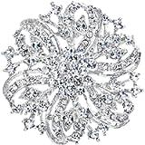 EVER FAITH® Flower Ribbon Brooch Corsage Austrian Crystal