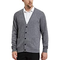 Kallspin Men's Cashmere Wool Blended Cardigans Relax Fit V-Neck Long Sleeve Sweater with Button & Pockets