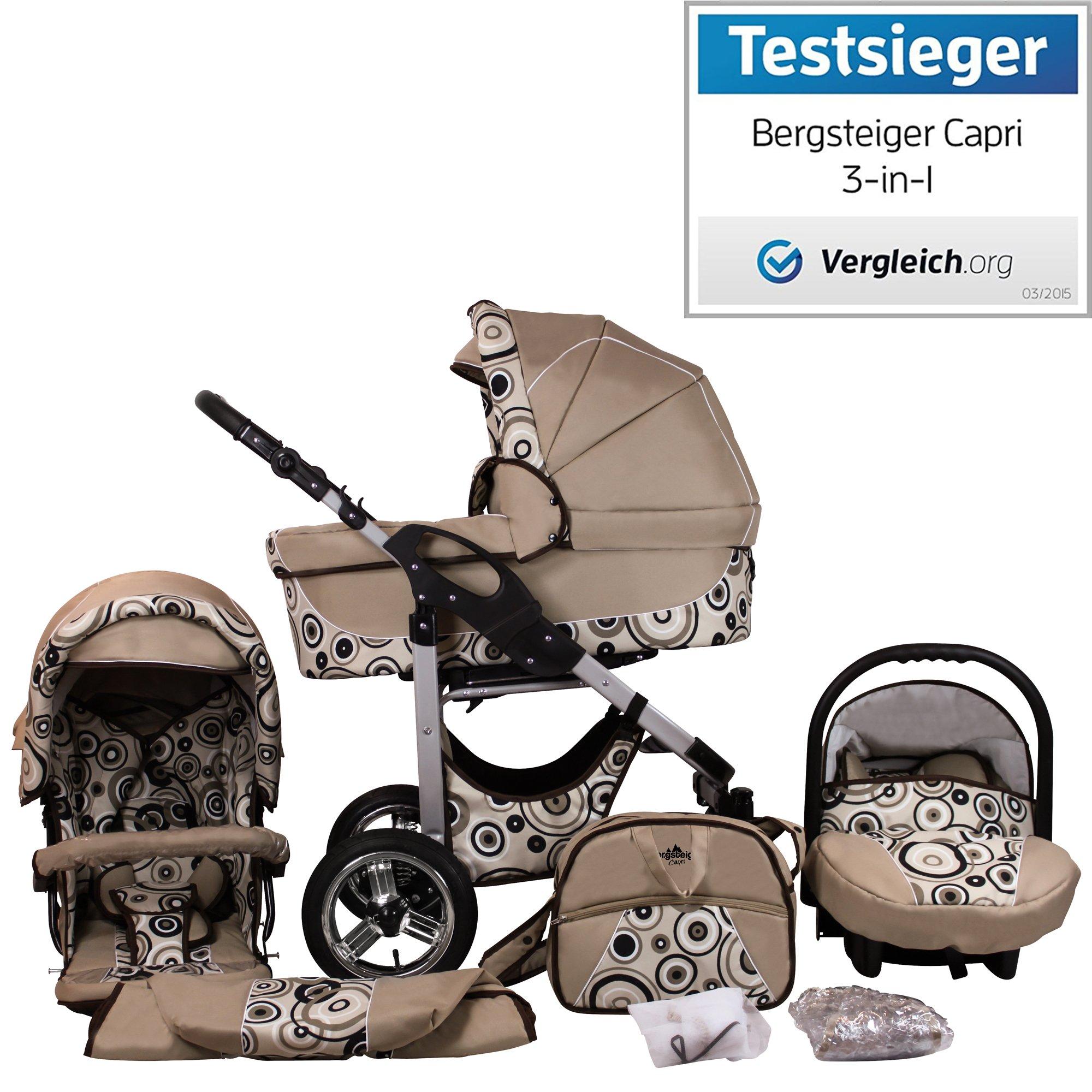 Bergsteiger Capri Beige Circles Kinderwagen 3 in 1 Kombikinderwagen Megaset 10 teilig inkl. Babyschale, Babywanne, Sportwagen und Zubehör