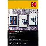 Kodak Carta Fotografica High Gloss, A6, 100x150 mm, 180 g/m², 50 Fogli, Bianca