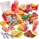 Buyger 63 PCS Fast Food Toy Play Food for Children Role Play Toy Kitchen Accessories Burger Set for 3 Year Old Girl Boy Kid G