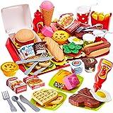 Buyger 63 Piezas Cocina Alimentos de Juguete Bricolaje Cocinitas Comida Hamburguesa Bandeja Juguete Accesorios Cumpleaños Nav