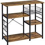 Yaheetech Baker's Rack Industrial Kitchen Island Microwave Storage Rack with Metal Mesh Basket Shelves and 6 Hooks, 90X39X84c