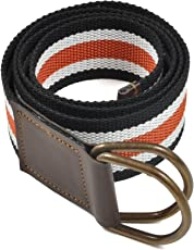 """FROW Men's 38mm Width Cotton Belt with 2 Antique Rust-free """"D"""" Rings (Multicolour, 34inch)"""