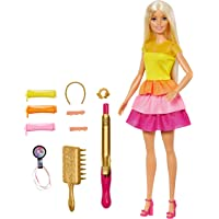 Barbie Rainbow Sparkle Hair Doll with Extra-Long Blonde Rainbow Hair, Sparkle Gel and Comb and Hair Styling Accessories