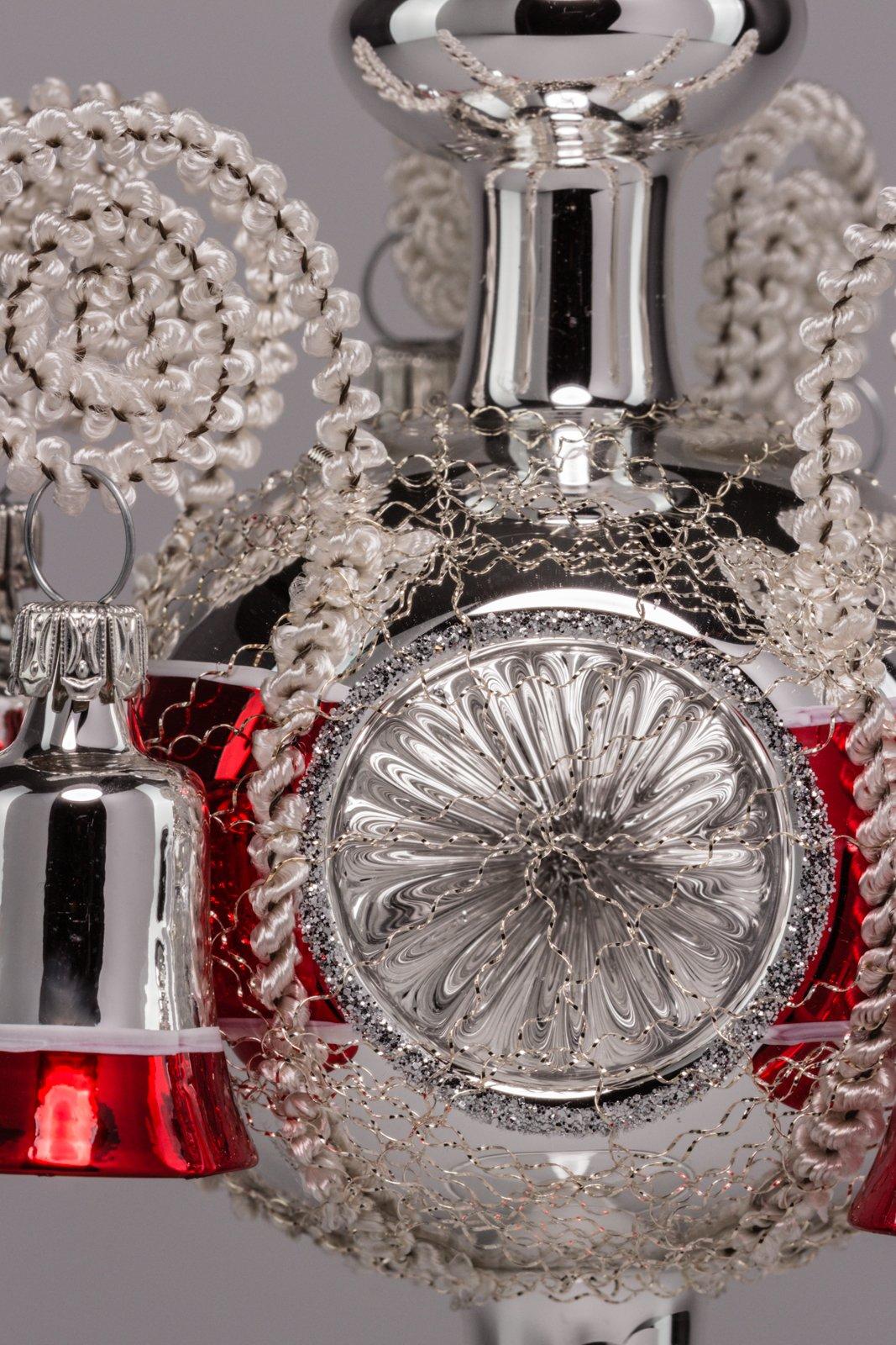 Christbaumschmuck-Spitze-Weihnachtsbaumspitze-SilberRot-Lauscha-Glas-Spitze-mit-Reflex-und-6-Glckchen-umsponnen-mundgeblasen