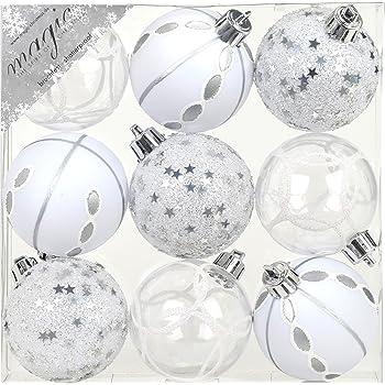 Christbaumkugeln Weiß.9 Stk Pvc Christbaumkugeln 6cm Silber Weiß Ornament Dekor Kunststoff Bruchfest Dekokugeln Weihnachtskugeln Baumkugeln Baumschmuck Set