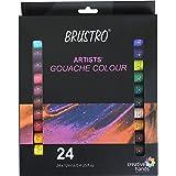 Brustro Artists Gouache Colour Set of 24 Colours X 12ML Tubes.