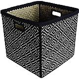 Box and Beyond Panier de Rangement en Feuilles de Palmier - Cube - Pliable - Motif Ethnique - Naturel/Noir - 31x31x31cm