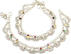 Fashion World Silver Payal Jhaalar Anklet for Girls and Women