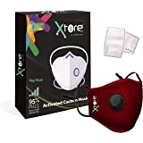 Xtore Cotton Colour Pro N95 Anti Pollution Ultra Comfortable 1 Mask 2 Filters, with Valve (Maroon)