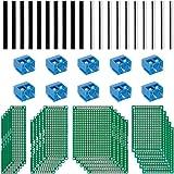 Anpro 50PCS Accessoires 20PCS PCB Panneau Prototype Cartes Circuits Plaques Souder Double Faces 5 Tailles 10pcs Bornier à Visser 10pcs Barrettes Male 10pcs Barrettes Femelle Pour DIY Circuit Imprimé