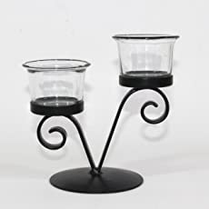 Hosley V Shape Decorative Tealight Holder with 2 Clear Glasses