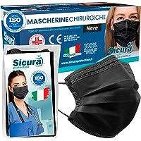 50 Mascherine CHIRURGICHE NERE per Adulti Certificate CE italia Tipo IIR BFE ≥ 98% Mascherina Chirurgica colorata NERA…