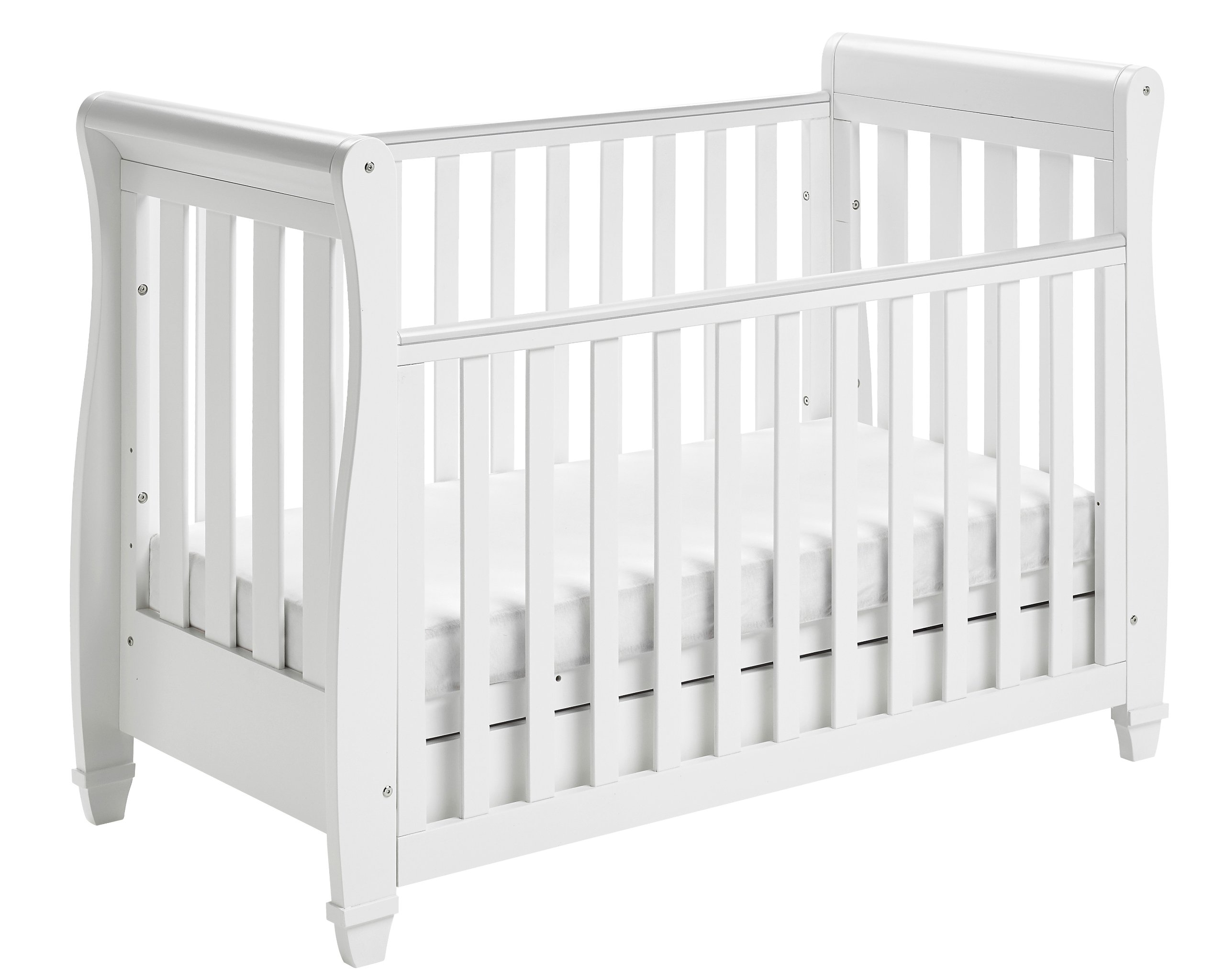 Babymore Eva Sleigh Cot Bed Dropside with Drawer (White Finish) + FOAM MATTRESS  Easily convert to junior bed/sofa/day bed, Meet British and European safety standards; Single handed drop side mechanism allow easy access to your baby Protective Teething rail on top of both sides. Full drawer on runner provide extra storage 5