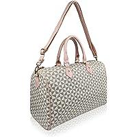 Quenchy London Ladies Travel Holdall Handbag – Pu Leather Women's Duffle Bag, 40cm x27 x19 - 20 Litre QL317BeP Beige…