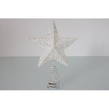 Gisela Graham White Iridescent Metal Wire Tree Top Star 20cm