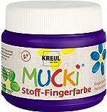 Kreul 28110 - Mucki leuchtkräftige Stoff - Fingerfarbe auf Wasserbasis, parabenfrei, glutenfrei, laktosefrei und vegan, optimal für die Anwendung mit Fingern und Händen, 150 ml Dose, violett