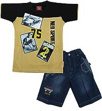 Kid's Care Summer Printed Cotton T-Shirt and Denim Half Pant/Capri Set for Boys(8144)