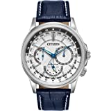 Citizen Eco-Drive Calendrier Quartz Mens Watch, Stainless Steel with Leather strap, Classic, Blue (Model: BU2020-02A)