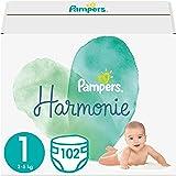 Pampers Maat 1 Harmonie Luiers, 102 Stuks (2 - 5 kg), Beschermt de gevoelige babyhuid, Met plantaardige materialen