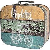 HMF VKO200 Maleta Vintage de Madera   32 x 29,5 x 12 cm   Grande   Decoración Bicicleta