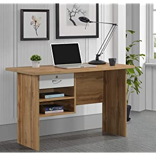 Plank Giona Engineered Wood Office Table and Study Desk  Wotan Oak and White