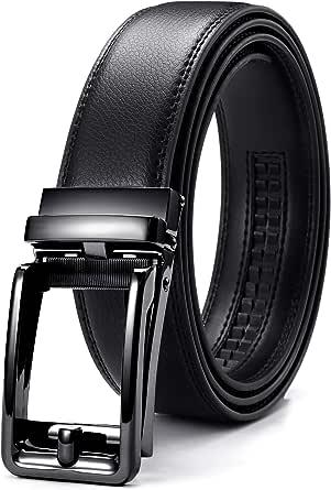 "Men's Belt, CHAOREN Ratchet Belt Leather with Automatic Buckle 1 3/8"" - Adjustable Trim to Fit"