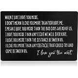 محفظة معدنية إدراج للزوج والصديق من الزوجة والصديقة، محفورة بطاقة هدية عيد ميلاد محفور عليها I Love You أكثر، ملاحظة الحب الب