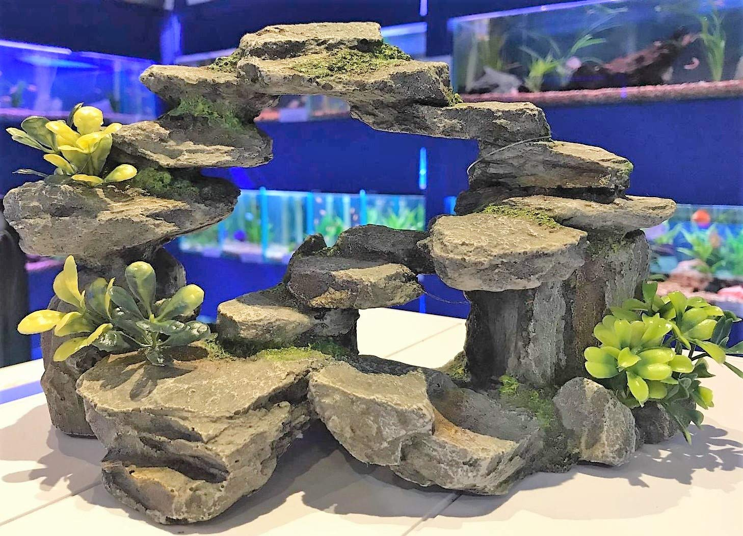 AQ Large Grey Rocky Arch with Plastic Plants Aquarium Fish Tank Ornament