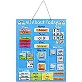 Navaris Calendario de aprendizaje para niños - Tablero educativo Montessori en inglés - Pizarra para aprender días de la sema
