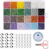 Naler 24000 Cuentas Cristal 2mm Mini Cuentas y Abalorios con Accesorios para DIY Pulseras Collares Bisutería (24 Colores)