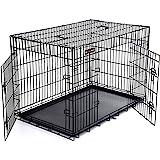 FEANDREA HundeKäfig 2 Türen faltbar TransportKäfig DrahtKäfig Katzen Hasen Nager Kaninchen Geflügel Käfig L - XXXL