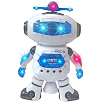 Popsugar Dancing Robot with Flashing Lights and Music, White