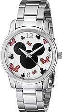 Disney Unisex W002339 Mickey & Minnie Mouse Silver-Tone Watch
