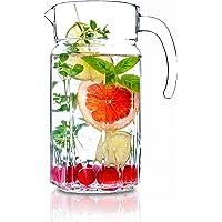 KADAX Pichet en verre robuste, carafe à eau avec bec verseur et poignée pratique, carafe en verre pour boissons froides…