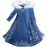 YOSICIL Niñas Vestido de Frozen Elsa Disfraz de Princesa Elsa con Capa Vestido Largo Traje de Fiesta Costume Princesa Disfraz