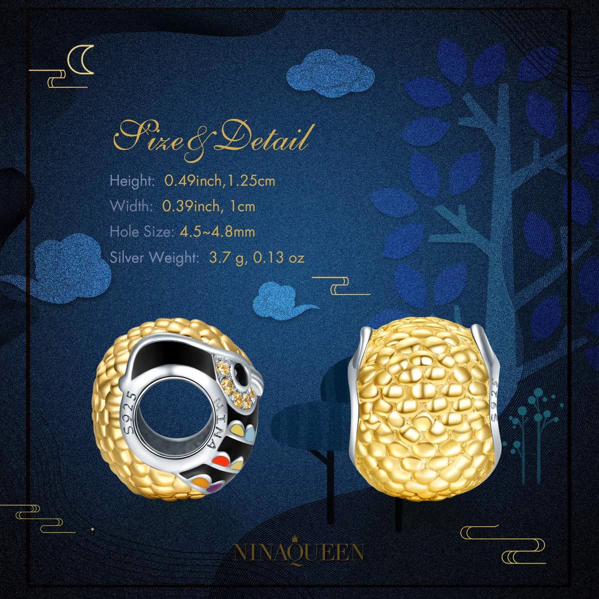 2a4839232fad NINAQUEEN Abalorios Charms para Mujer Búhos Plata 925 Chapado en Oro para  Amantes ...