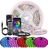 BIHRTC 7.5m RGB LED Strip LED Streifen Licht Led Lichterkette mit Fernbedienung Farben, App-Steuerung, Musik Sync, LED Band f