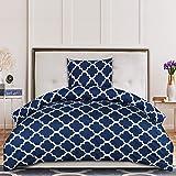 Utopia Bedding Housse de Couette 135x200 cm avec 1 Taie d'oreiller 80x80 cm - Bleu Marine Parure de Lit 1 Personne - Sets de