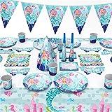 Tonsooze Set De Vajilla Sirena, 96 Piezas Vajilla de fiesta Accesorio de Decoración de Fiesta de Cumpleaños, Party Vajilla Pa