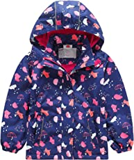 Echinodon Mädchen Gefütterte Outdoorjacke Wasserdicht/Winddicht/Warm Regenjacke Funktionsjacke Kinder Wanderjacke Jacke
