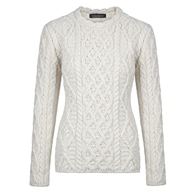 Ireland's Eye 100% Irish Merino Wool Ladies Aran Sweater with ...