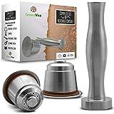 Greenvea - Juego Completo de capsulas de café Nespresso rellenables y Reutilizables. Capsulas rellenables de Acero Inoxidable
