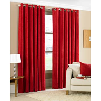 Riva Home Glenville Chenille Eyelet Lined Curtains, Red, 90 x 90 ...
