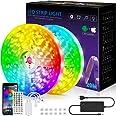 Ledstrip, 20 m licht, muzieksynchronisatie, kleurverandering, RGB-ledstrip, afstandsbediening met 40 toetsen, gevoelige ingeb