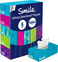 Smile Facial Tissues - Pack of 5 Boxes, 150 Sheets x 2 Ply