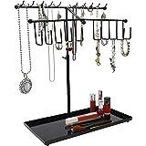 Belle Vous Presentoir Bijoux en Métal Noir à 2 Niveaux avec Plateau (30 Crochets) - Arbre a Bijoux Réglable - Porte Collier,