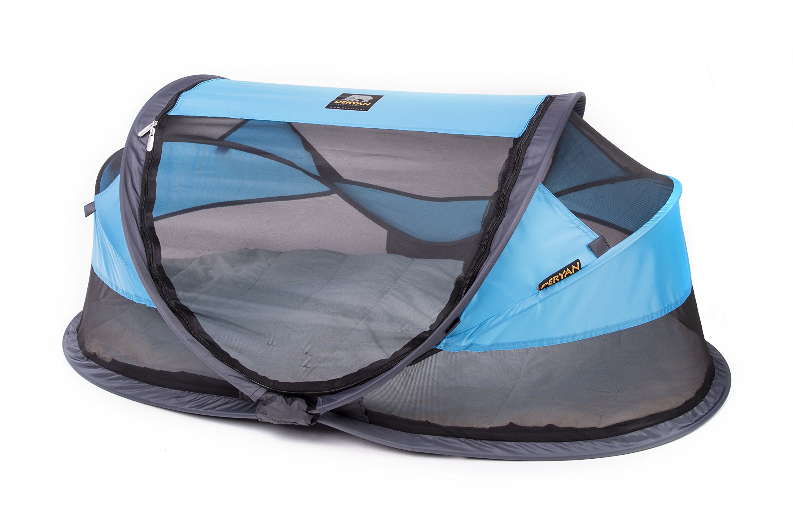 Deryan travel cot / travel cot Baby Luxe travel tent including sleeping mat, self-inflatable air mattress and carrying bag with pop-up built within 2 seconds, Blue Deryan 50% UV Protection and flame retardant fabric Setup in 2 seconds and a anti-musquito net  2