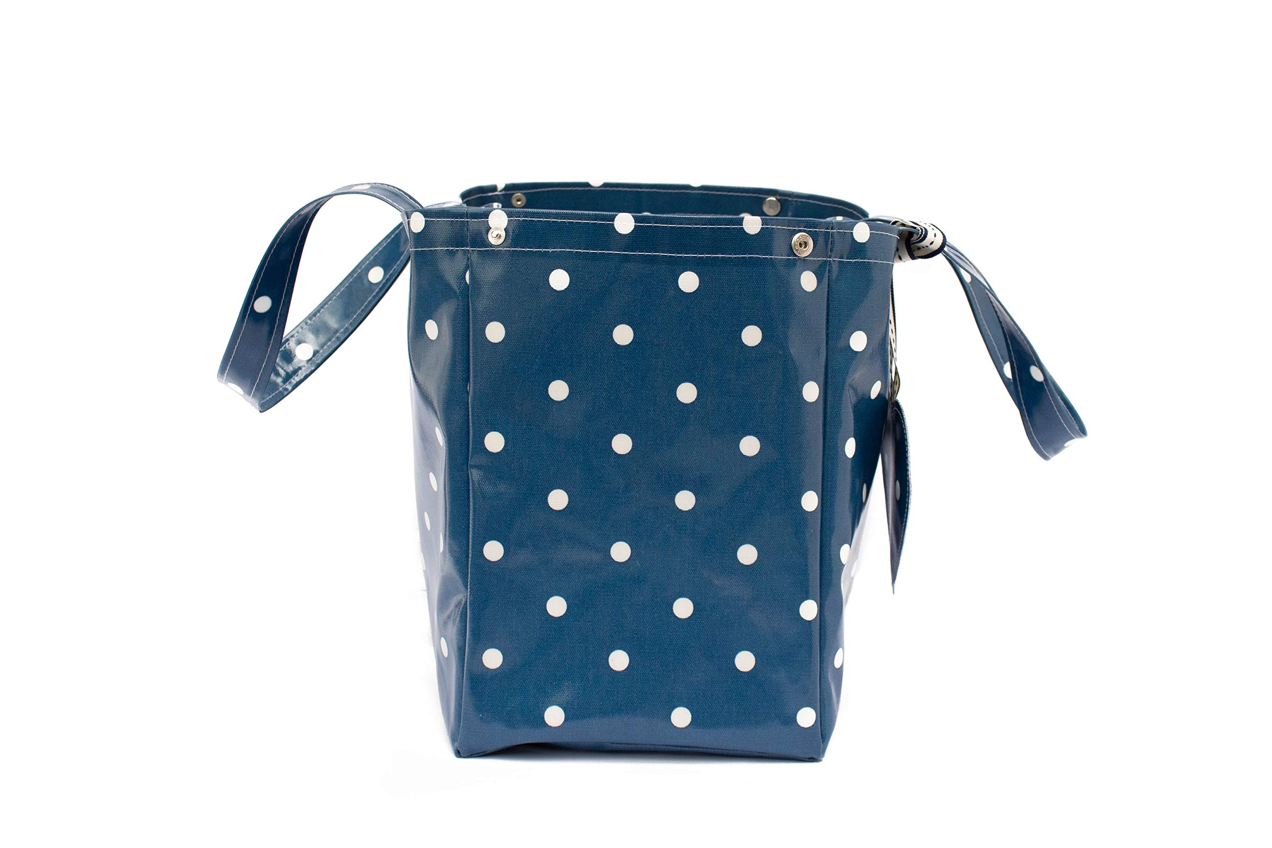 Blue Polka Dot Market Tote Bag Purse Fashion Gift for Her - handmade-bags
